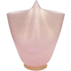 Ercole Barovier Toso Murano Pink Gold Flecks Italian Art Glass Flower Vase