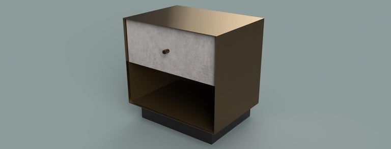 Ercole Bedside Table Powder Coated and Ultraleather Pony Upholstery For Sale 3