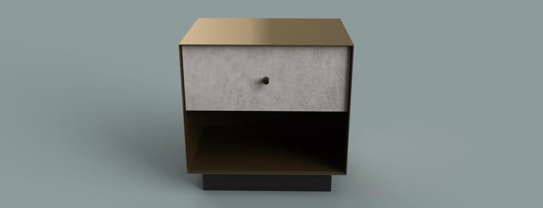 Ercole Bedside Table Powder Coated and Ultraleather Pony Upholstery For Sale 4