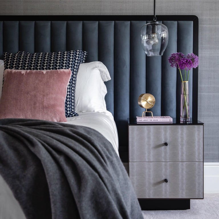 British Ercole Bedside Table Powder Coated and Ultraleather Pony Upholstery For Sale