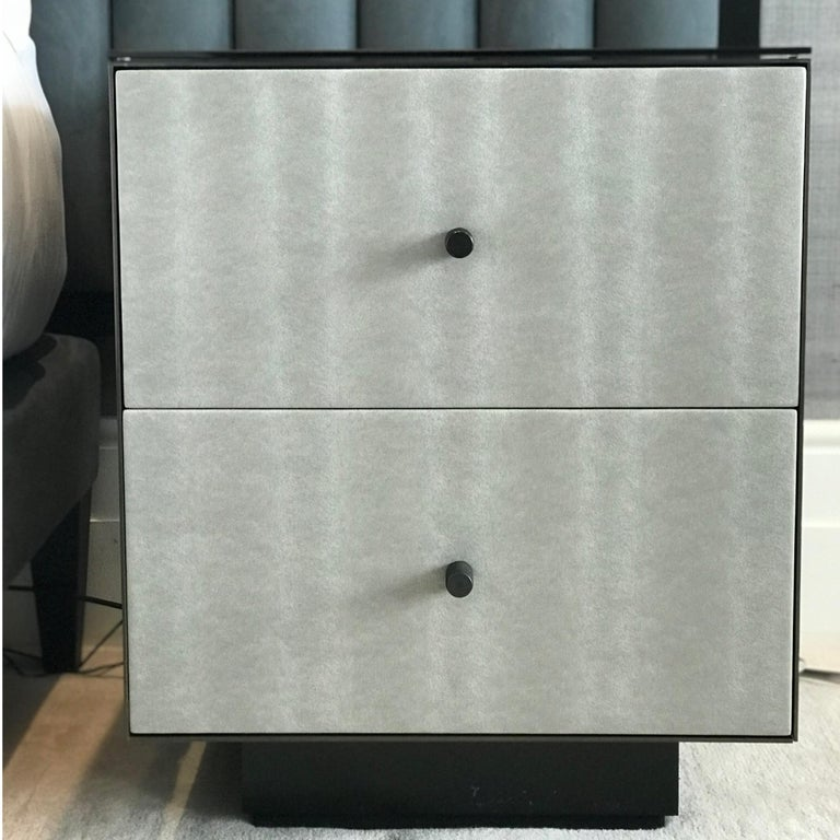 Steel Ercole Bedside Table Powder Coated and Ultraleather Pony Upholstery For Sale