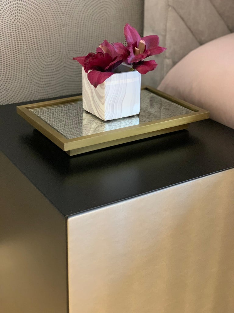 Ercole Bedside Table Powder Coated with Door and Ultraleather Pony Upholstery For Sale 4