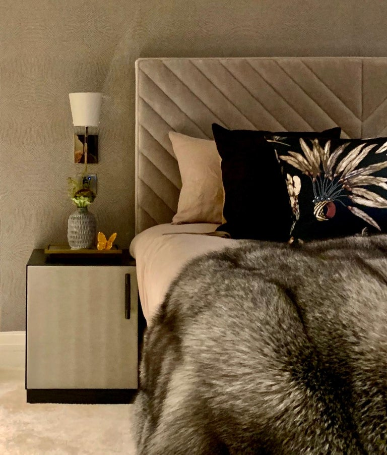 Powder-Coated Ercole Bedside Table Powder Coated with Door and Ultraleather Pony Upholstery For Sale