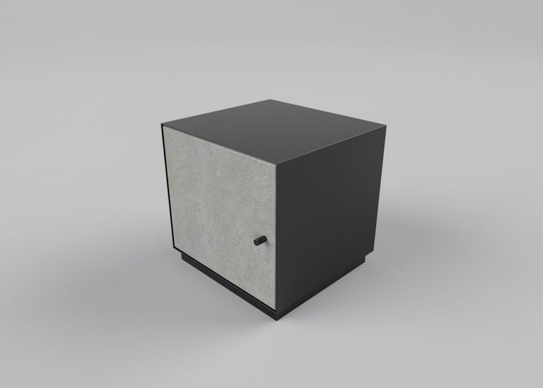 Contemporary Ercole Bedside Table Powder Coated with Door and Ultraleather Pony Upholstery For Sale