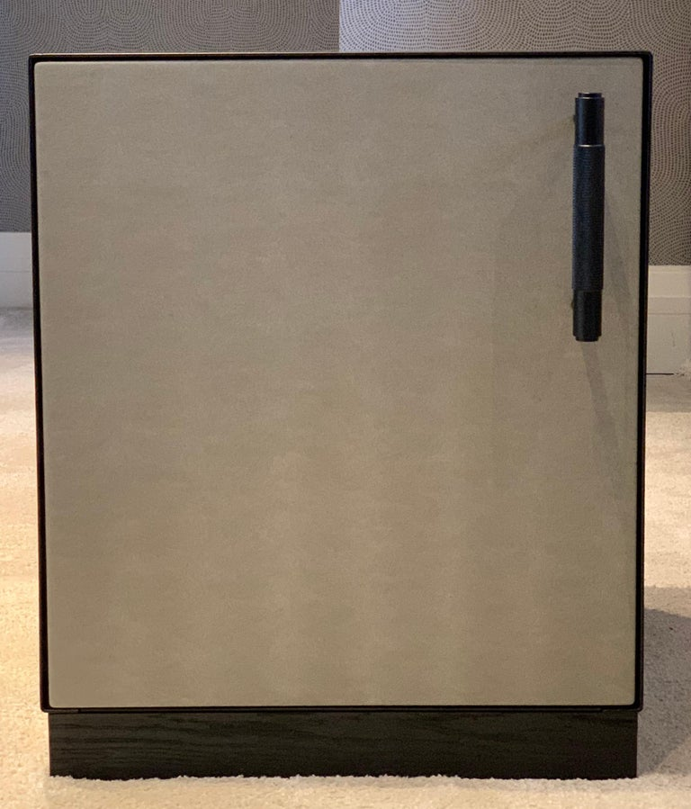 Faux Leather Ercole Bedside Table Powder Coated with Door and Ultraleather Pony Upholstery For Sale