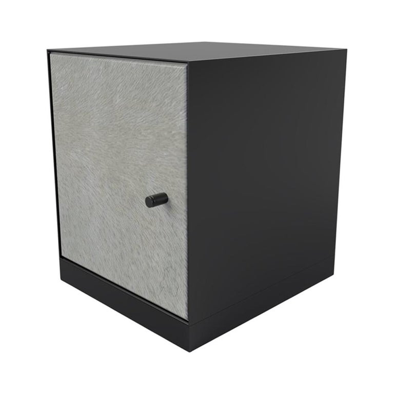 Ercole Bedside Table Powder Coated with Door and Ultraleather Pony Upholstery For Sale
