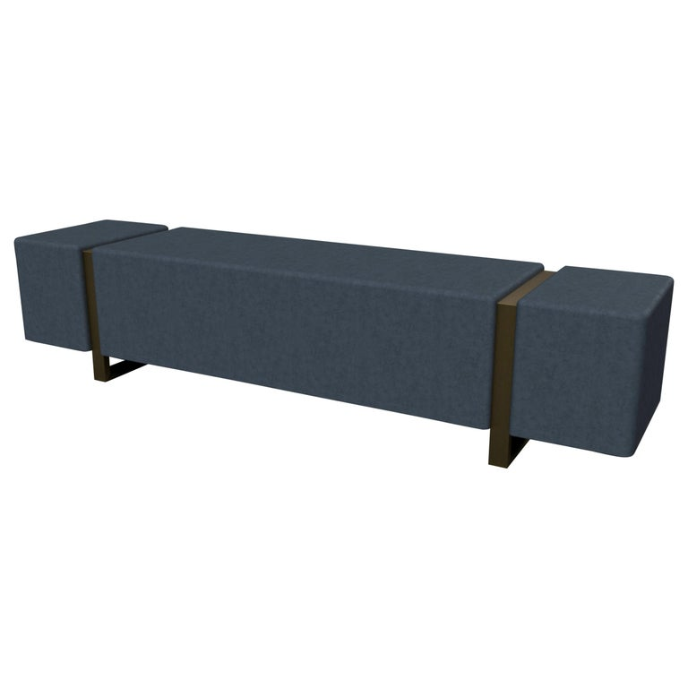 Ercole Bench Upholstered in Novasuede with Metal Powder Coated Legs For Sale