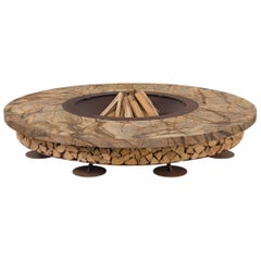 Ercole Large Rain Forest Brown Marble Fire Pit by AK47 Design