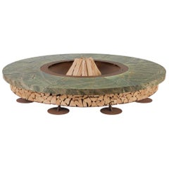 Ercole Large Rain Forest Green Marble Fire Pit by AK47 Design
