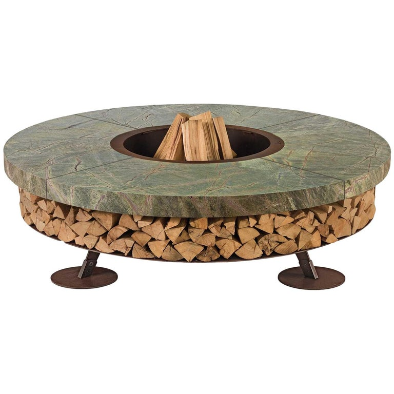 Ercole Small Rain Forest Green Marble Fire Pit by AK47 Design, new, Casa Design Group