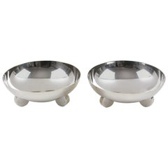 Ercuis Art Deco Silver Plate Ring Holder Display Bowl, a pair