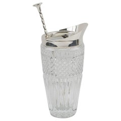 Ercuis France Silver Plate and Crystal Barware Cocktail Martini Pitcher