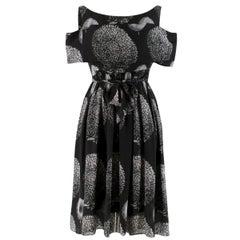 Erdem Black Cold-shoulder Printed Belted Dress UK 12