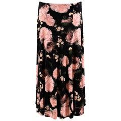 Erdem Black Elvin Floral Jersey Skirt - Size US8