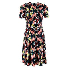 Erdem Black Floral Print A-Line Dress XS 8
