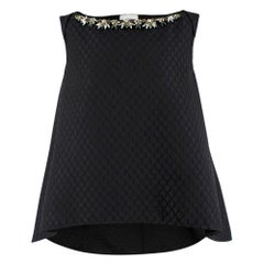 Erdem Black Joelle Embellished Jacquard Swing Top - Size US 8