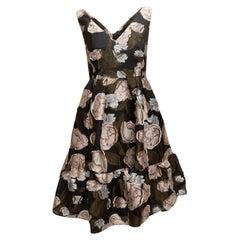 Erdem Black & Multicolor Floral Jacquard Dress