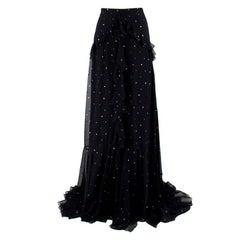 Erdem Black Silk Alison Ruffled Maxi Skirt - Size US 2