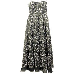 Erdem Black Silk and Floral Pattern Evening Dress Size 8