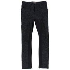 Erdem Black Stina Damask-Brocade Trousers SIZE 8 UK