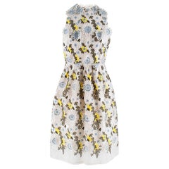 Erdem Dina Silk-organza Floral-embroidered Dress - Size US 8