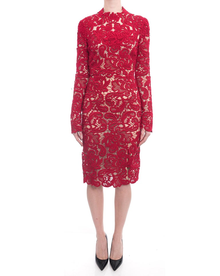 710b825d Erdem Fall 2015 Red Guipure Lace Long Sleeve Cocktail Dress. Exposed gold  center back zipper