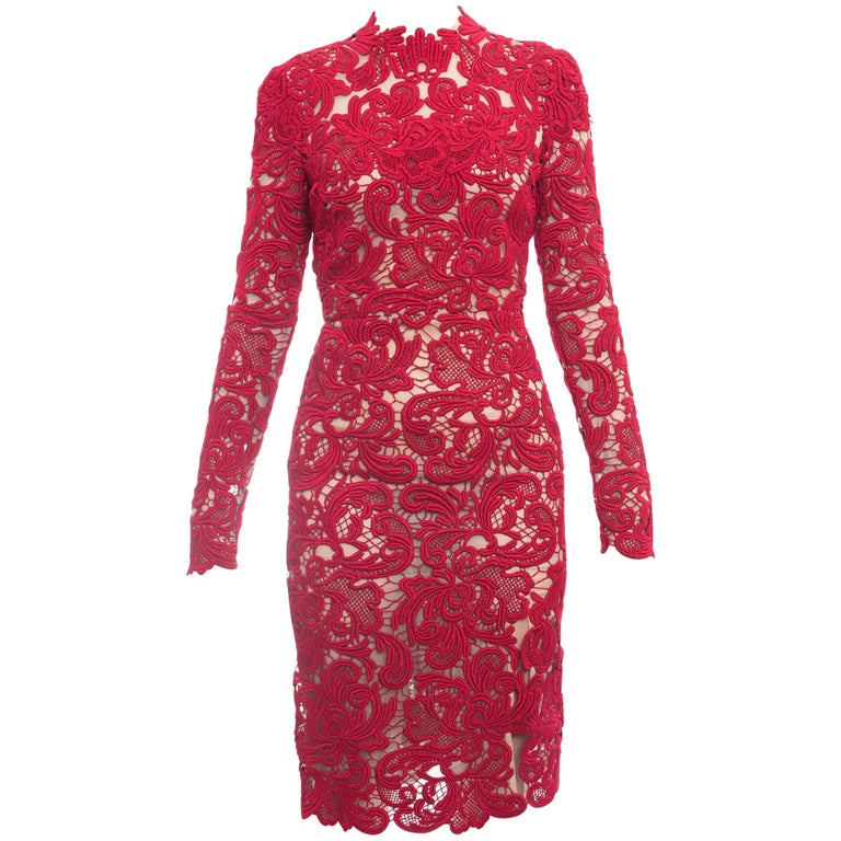6ff0a0aa Erdem Fall 2015 Red Guipure Lace Long Sleeve Cocktail Dress - 2/4 For Sale