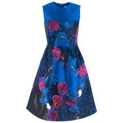 Erdem Floral Embroidered Blue Jacquard Dress SIZE 8 UK