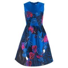 Erdem Floral Embroidered Blue Jacquard Dress - Size US 4
