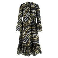 Erdem Floral Embroidered Sheer Black Dress L 14