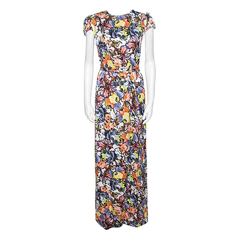 Erdem Floral Printed Silk Belted Cap Sleeve Aurelia Maxi Dress S For