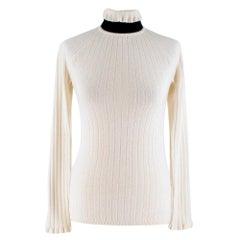 Erdem High Neck Wool Blend Open Back Sweater SIZE S