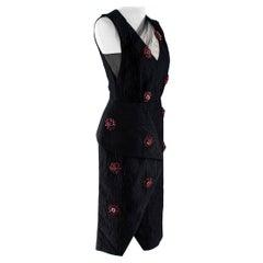 Erdem Jacquard Crystal Embellished Dress with Net Overlay