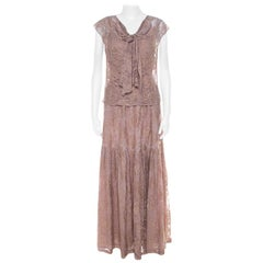Erdem Light Pink Lace Front Bow Detail Top and Skirt Set M