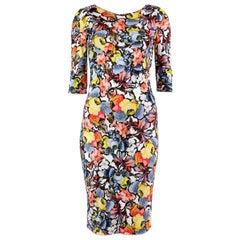 ERDEM multicolor viscose FLORAL WILHEMINA Sheath Dress 14 XL