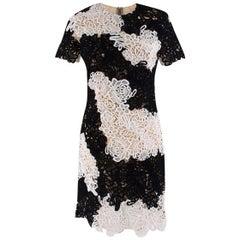 Erdem Nadene Black & White Guipure Lace Dress UK 8