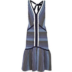 Erdem Navy & White Stripe Fishtail Dress Sz 6