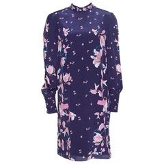 Erdem Navy Blue Kayo Lily Printed Silk Mirela Shift Dress M