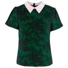 Erdem Navy & Green Wool Embroidered Top W/ Baby Pink Collar SIZE 8 UK