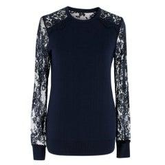Erdem Navy Wool & Lace Sweater SIZE S
