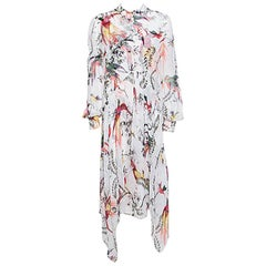 Erdem Parrot Printed Silk Chiffon Printed Handkerchief Hem Kaylah Dress M