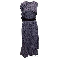 Erdem Purple & Black Kaylee Floral Patterned Dress