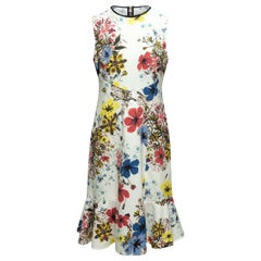 Erdem White & Multicolor Floral Print Dress