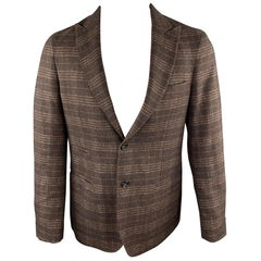 EREDI PISANO Size 40 Brown Plaid Peak Lapel Sport Coat / Jacket