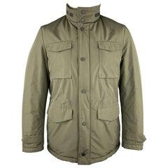 EREDI PISANO Size M Olive Green Padded Patch Pocket Winter Jacket