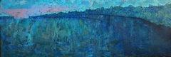 "Large Oil on Board Landscape Painting ""Blue Lake"""