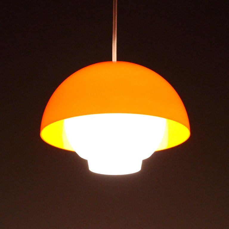 Danish ERGO Orange Plexiglas Lamp by Bent Karlby ASK Belysning, 1971