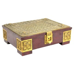 Erhard & Söhne German Secessionist Humidor or Casket Box In Gilt Brass Filigree