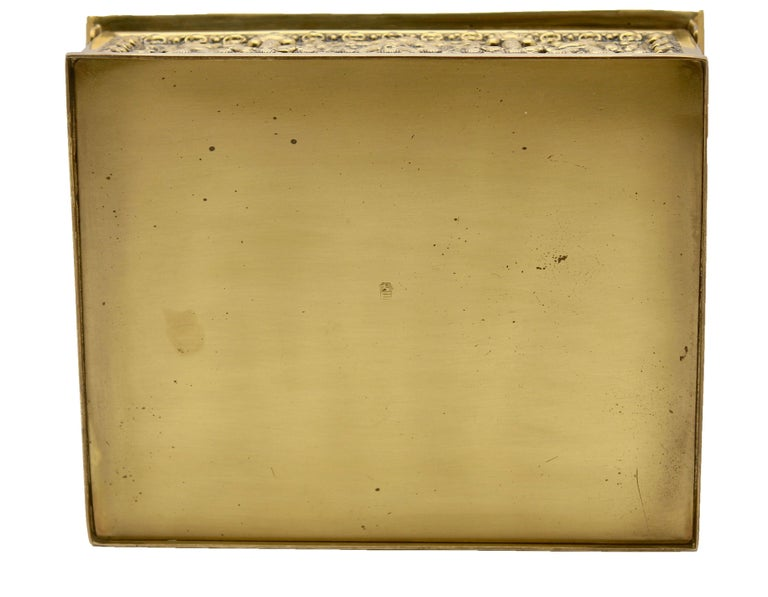 Erhard & Sons Art Nouveau Brass Repousse Tobacco or Jewelry Box Signed For Sale 1