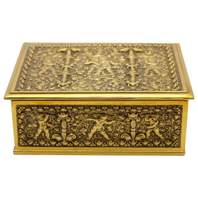 Erhard & Sons Art Nouveau Brass Repousse Tobacco or Jewelry Box Signed For Sale